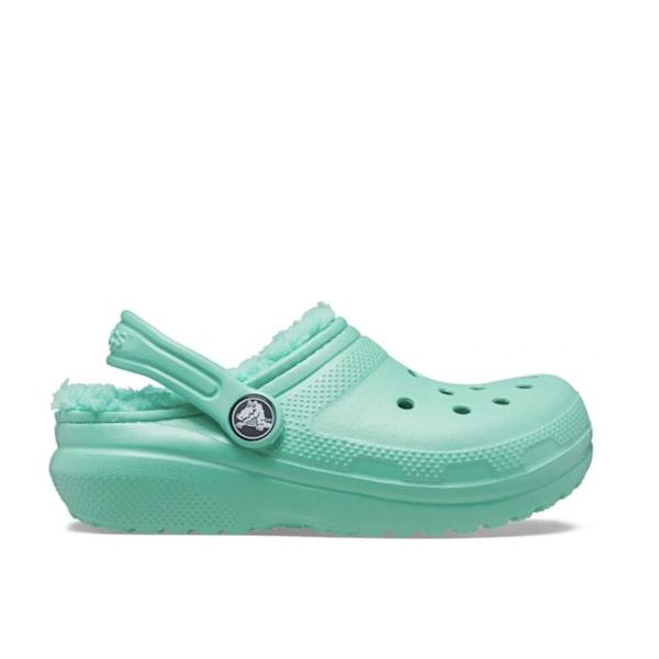 Green Fur Lined Crocs